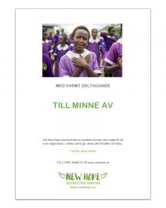 Kondoleansbrev från New Hope barnfond