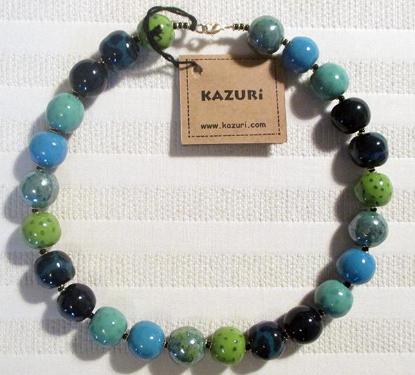 Kazuri Halsband Special från Kenya Blå-Grön