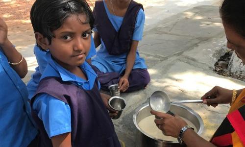 Barnen får buffelmjölk